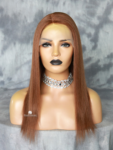 14in #5 Thick Density Yaki Straight Brazilian Virgin Silk Top Lace Front Wig[MS29]