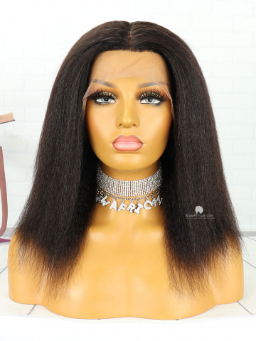 12in Natural Color Italian Yaki Indian Hair 360 With Silk Top Front Lace Wigs [MS78]