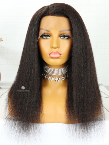 18in Natural Color Italian Yaki Indian Hair 360 With Silk Top Front Lace Wigs [MS80]
