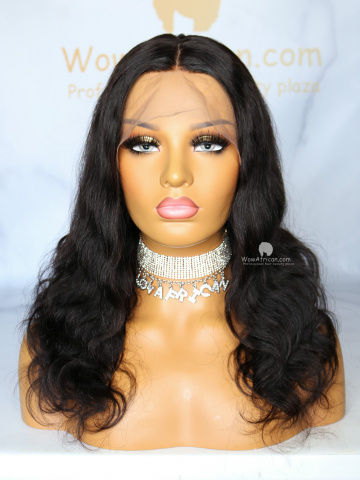 16in Natural Color Body Wave Indian Hair 360 With Silk Top Front Lace Wigs [MS83]