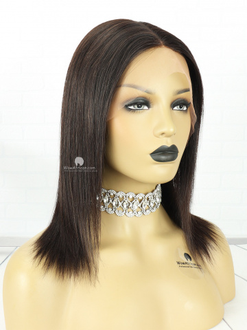 10in Natural Color Silky Straight Indian Hair 360 With Silk Top Front Lace Wigs [MS84]