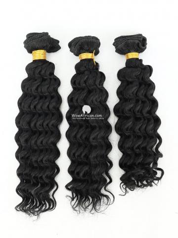 #1 Jet Black Water Wave Indian Hair Weave 3pcs Bundles[CS26]