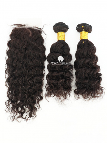 #1B Off Black Water Wave Indian Hair Silk Closure With 2pcs Weaves[CS27]