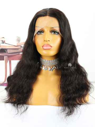 18in Natural Color Loose Wave Indian Hair 360 With Silk Top Front Lace Wigs [MS99]