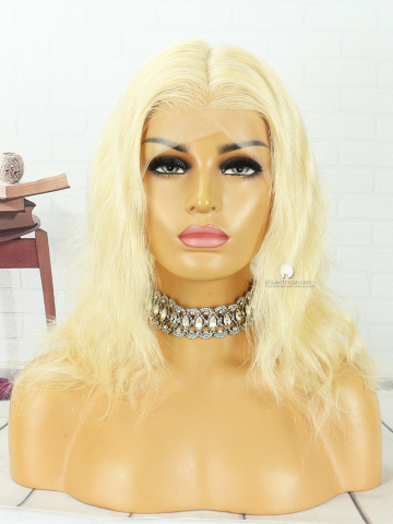 12in #613 Blonde NaturalWave Transparent Lace Color Indian Full Lace Wig[MS132]
