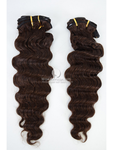 2 Packs Clip In Hair Indian Remy #2 Dark Brown Deep Wave 8pcs[CSC31]
