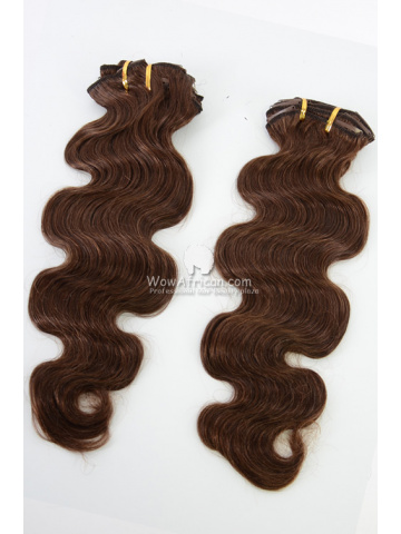 2 Packs Clip In Hair Indian Remy #4 Medium Brown Body Wave 8pcs[CSC24]