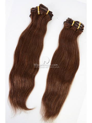 2 Packs Clip In Hair Indian Remy #4 Medium Brown Natural Straight 7pcs[CSC20]