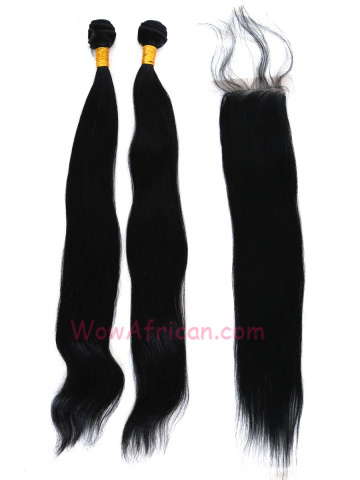 Buy 2 Get 1 Free Jet Black Indian Remy Silky Straight Hair[CFB01]