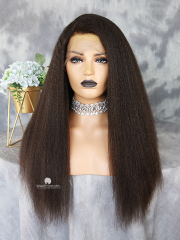 Natural Color Italian Yaki Brazilian Virgin Lace Front Wig[WCI-01]
