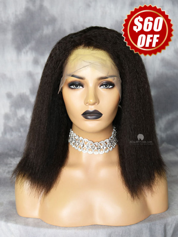 12in Density Natural Color Kinky Straight Virgin Brazilian 5in Lace Front Wig Cap[WCS196]