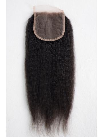 Natural Color Italian Yaki Brazilian Virgin Hair Lace Closure 4x4inches [LC36]