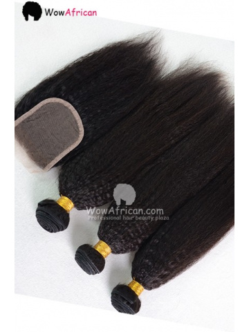 Italian Yaki Brazilian Virgin Hair 3.5X4inches Middle Part Closure with 4pcs Weaves
