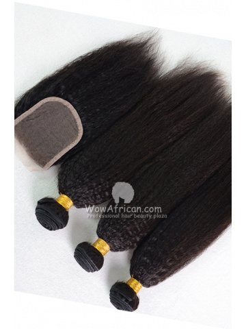 Indian Virgin Hair Italian Yaki Hair Weave 3pcs Bundles with A Lace Closure[WB254]