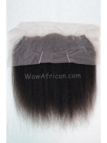 Natural Color Italian Yaki Brazilian Virgin Hair Lace Frontal [LF21]
