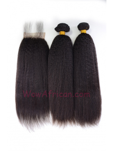 Italian Yaki Brazilian Virgin Hair 3.5X4inches Middle Part Closure with 2pcs Weaves[WB283]