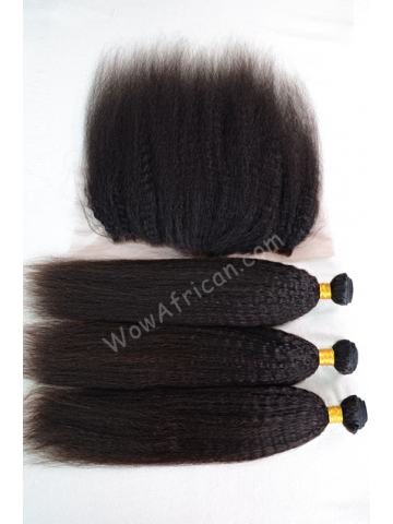Italian Yaki Virgin Brazilian Hair Lace Frontal with 3pcs Weaves[WB245]