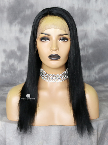14in Jet Black Silky Straight Indian Remy Full Lace Wig[WCS97]