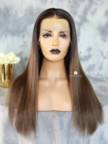 Kim Ombre Brown Human Hair Lace Front Wig [CLW63]