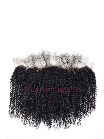 Natural Color Kinky Curl Brazilian Virgin Hair Lace Frontal [LF23]