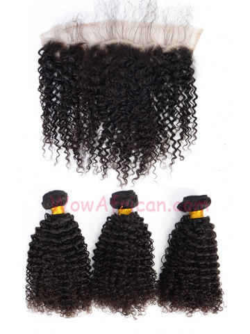 Kinky Curl Virgin Brazilian Hair Lace Frontal with 3pcs Weaves[WB277]