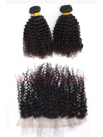 Virgin Brazilian Hair Kinky Curl Lace Frontal with 2pcs Weaves[WB272]