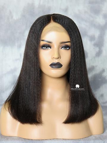 Kinky Straight Long Bob Brazilian Hair Lace Front Wig [CBW40]