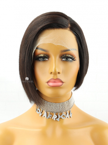 Natural Color Short Bob HD Film Lace Front Lace Wig Indian Hair [MS198]