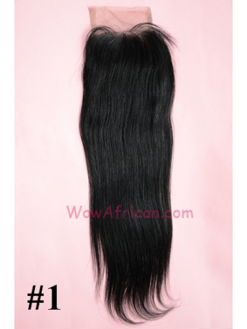 #1Jet Black Silky Straight Indian Remy Hair Lace Closure 4x4inches [LC01]