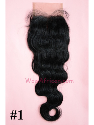 #1Jet Black Body Wave Indian Remy Hair Lace Closure 4x4inches [LC09]