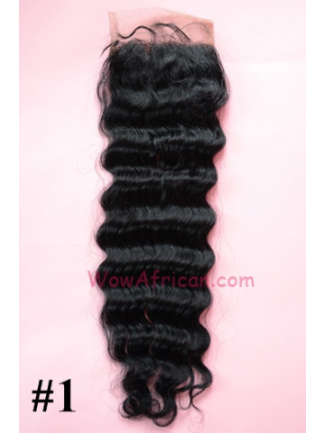 #1Jet Black Deep Wave Indian Remy Hair Lace Closure 4x4inches [LC13]