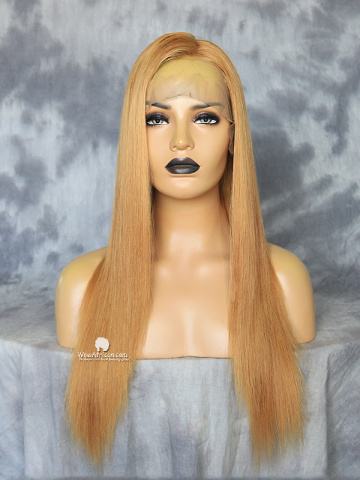 18in Blonde Color Straight Virgin Brazilian Full Lace Wig[MS56]