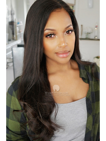 "Pre-plucked Black Straight Virgin Brazilian Hair 5.5"" Lace Front Wig [LFW501M]"