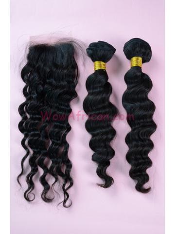 Peruvian Virgin Hair Milan Curl A Silk Base Closure with 2pcs Weave Bundles