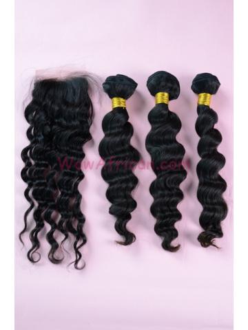 Brazilian Virgin Hair Milan Curl A Silk Base Closure with 3pcs Weave Bundles