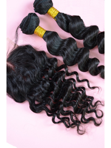 Indian Virgin Hair Milan Curl A Lace Closure with 2pcs Weaves Bundles
