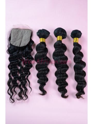 Peruvian Virgin Hair Milan Curl A Silk Base Closure with 3pcs Weave Bundles