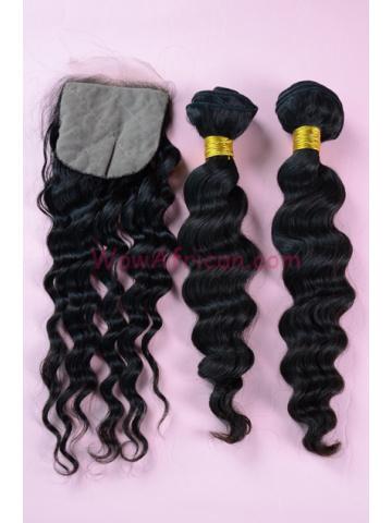 Brazilian Virgin Hair Milan Curl A Silk Base Closure with 2pcs Weave Bundles