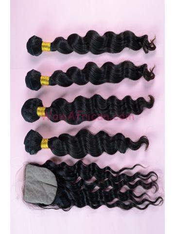 Brazilian Virgin Hair Milan Curl A Silk Base Closure with 4pcs Weave Bundles