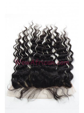 Natural Color Milan Curl Brazilian Virgin Hair Lace Frontal [LF22]