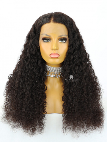22in Natural Color Deep Wave Brazilian Virgin Hair Full Lace Wig[MS255]