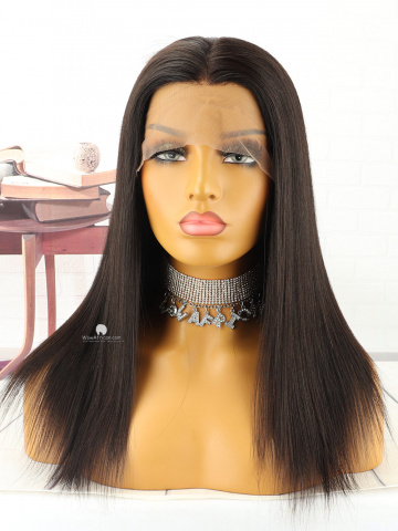 Natural Color Yaki Straight Brazilian Virgin Lace Front Wig[WCS89]