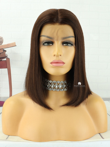14in Dark Brown Straight Bob Lace Front Lace Wigs Brazilian Hair [MS196]