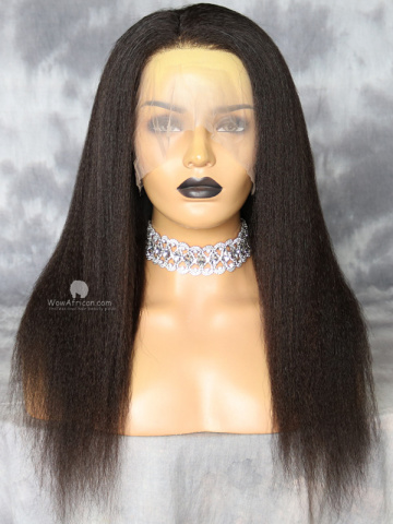 18in Natural Color Kinky Straight Virgin Brazilian 360 Lace Wig[WCS223]