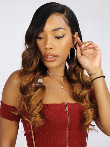 Caramel Ombre Wavy Brazilian Hair 360 Wig [Bryana023]