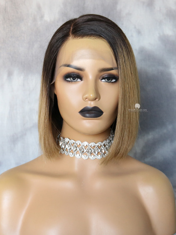 Ombre Bob Virgin Human Hair Lace Front Wig [CBW42]