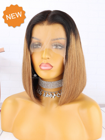Ombre Brown Straight Bob Indian Hair Lace Front Wig [CBW48]