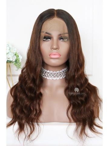 Ombre Dark Brown Virgin Brazilian Hair 360 Frontal Wig [TLW503]