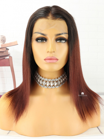 12in Ombre Straight Front Lace Wigs Brazilian Hair [MS165]