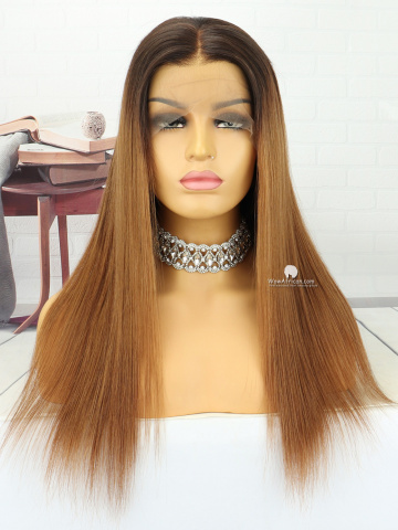 18in Ombre Natural/#4/#7 Straight Brazilian Lace Front Wig[MS186]